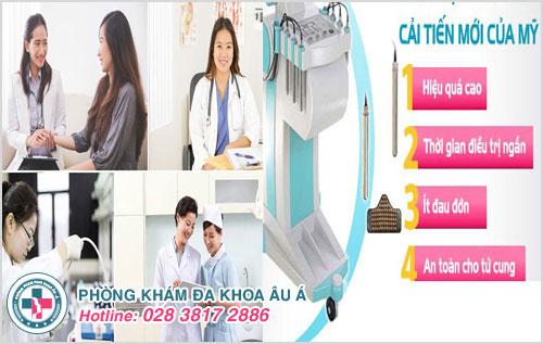 Phòng Khám Đa Khoa Âu Á chữa bệnh viêm lộ tuyến cổ tử cung bằng Dao Leep