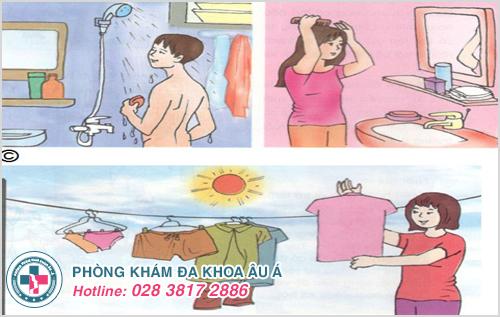 Giữ vệ sinh cơ thể, đặc biệt là vùng cổ sạch sẽ, nên phơi quần áo ở nơi có ánh nắng mặt trời
